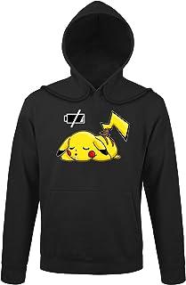 POKEMON Pikachu Felpa Con Cappuccio Donna Ragazza Giallo Nero 3D Felpa con orecchie Top Nuovo