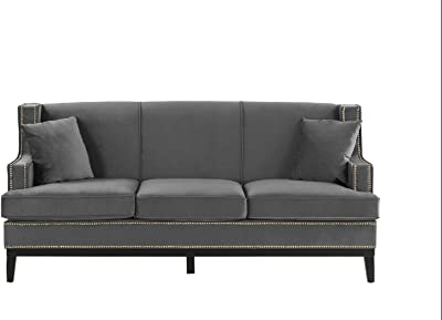 Divano Roma Furniture Modern Velvet Sofa - Nailhead Trim, Grey