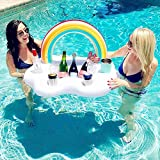 SJTL Arco Iris Nube Inflable Holder Bebida Flotante Ensalada Ensalada Fruta Bar Piscina Flotante Fiesta Verano Playa Lata de Cerveza Botella Botella Cerveza Juguetes de Natación 95CM