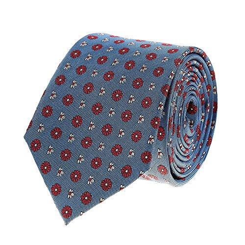 Bruce Field - Cravate en pure soie ciel à fleurs blanches et rouges