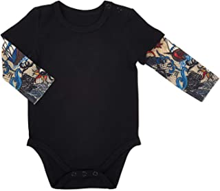 Stephan Baby Snapshirt-Style Diaper Cover with Tattoo Sleeves, Black, 6-12 Months