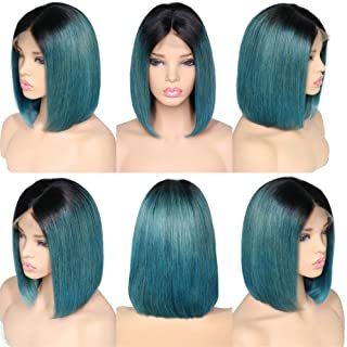 Remeehi Short Straight Bob Full Head Wigs None Lace Full Head Wig For Women 1b/green 8inch