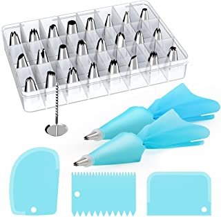 Kootek 32-Piece Cake Decorating Supplies Tips Kits Stainless Steel Baking Supplies Icing Tips with Pastry Bags, 3 Icing Smoothers, 1 Flower Nails and 2 Reusable Coupler