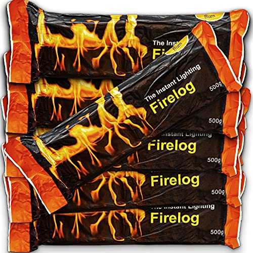 Fire Logs – Instant Light NaturalFireLogsfor Outdoor Wood Burners & Firepits - Ideal for Camping - Long Burning for up to 1 Hour 30 Minutes - Pack of 10