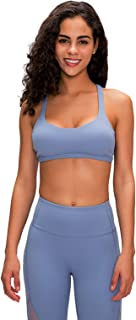 Gym Yoga Bras for Women, Sexy Breathable Backless Cross Back Running Sports Bra,Blue,4