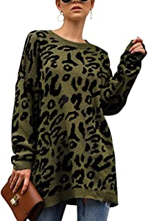 Womens Leopard Print Sweater Casual Long Sleeve Round Neck Oversized Tops