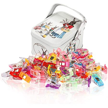 Sewing Clips and Quilting Clips,Fabric,Craft Clips with Tin Box Package,Pack of 100