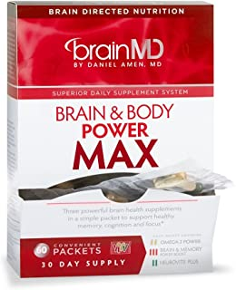 Dr Amen Brain MD Brain & Body Power Max - 420 Capsules - Complete Wellness Support Supplement, Contains NeuroVite Plus, Brain and Memory Power Boost, Omega-3 Power - 30 Day Supply