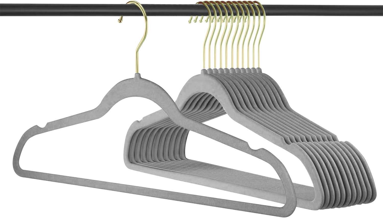 ManGotree Lot de 36 cintres en velours pour adulte Ultra fins Antid/érapants Peu encombrants Gris Crochets rotatifs /à 360/°