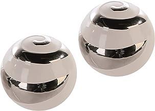 Lifestyle & More Decoración Moderna Bolas de cerámica de 2 Piezas Blanco/Plateado Diámetro 6.5 cm