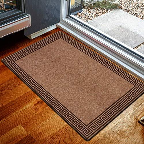 Hafaa - Alfombra y Alfombra para Sala de Estar, Repelente al Agua y al Polvo, Alfombra con Base de Gel Antideslizante, Brown & Red, 50 x 80 cm - Medium Doormat