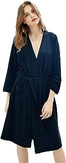 Womens Waffle Kimono Robes Knee Length Summer Lightweight Soft Cotton Bathrobe Bridesmaid Hotel Spa Pajamas Sleepwear