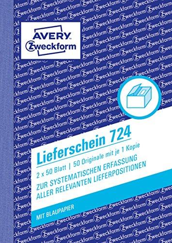 AVERY Zweckform 724 Lieferschein (A6, 2x50 Blatt, mit einem Blatt Blaupapier und einem blanko Durchschlag, zur systematischen Erfassung aller relevanten Lieferpositionen) weiß