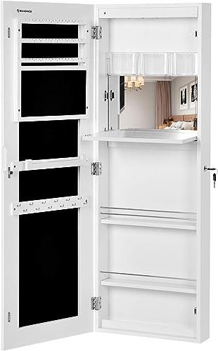 SONGMICS Portagioie Armadio Organizzatore Bianco per Gioielli con Specchio da Appendere a Porta Parete JBC63WV1