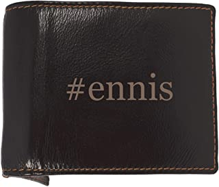 #ennis - Soft Hashtag Cowhide Genuine Engraved Bifold Leather Wallet