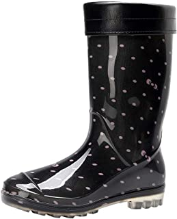 Women Warm Snow Boots, Ladies Dot Printed Non-Slip Rain Boots Outdoor Water Shoes