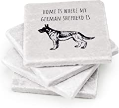 German Shepherd Coaster Set Absorbent - German Shepherd Gifts and Decorations With Fun Quotes For Dog Lovers - Four Handcrafted Marble Stone