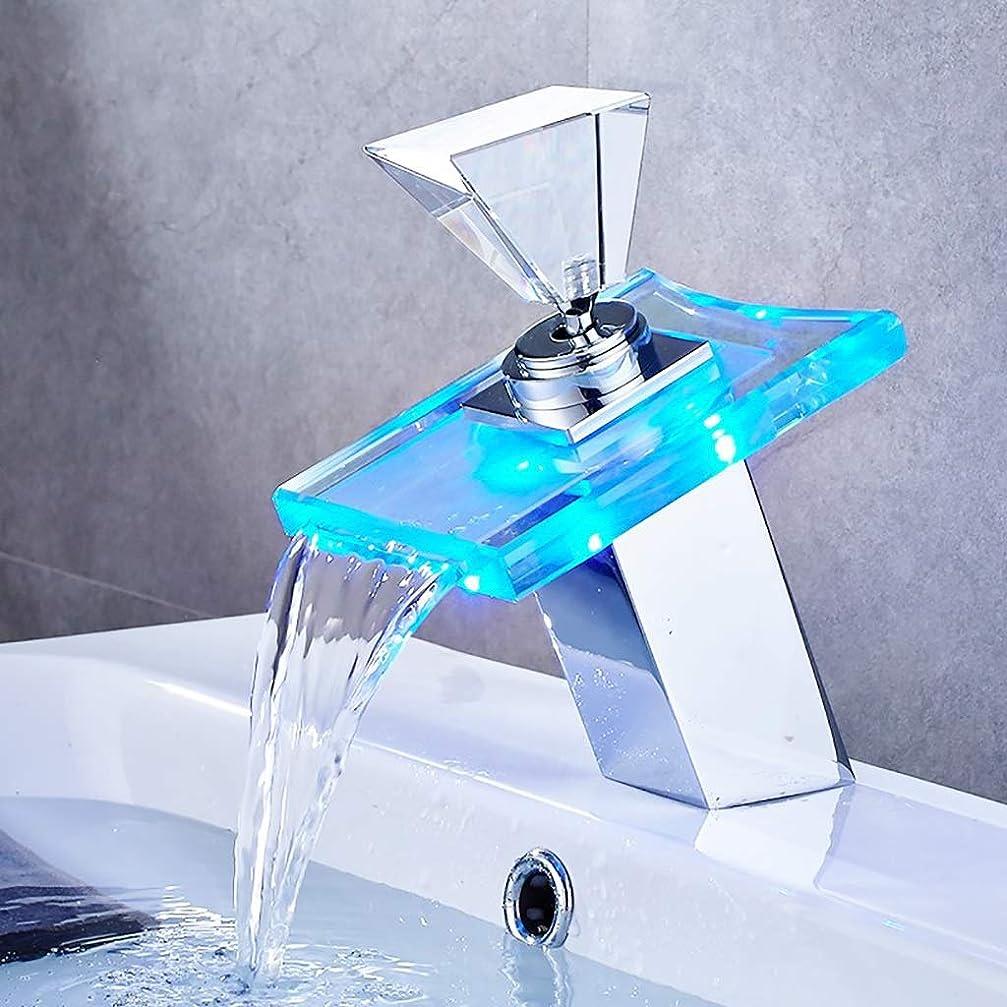ペッカディロ報酬純粋に水栓, LEDライト盆地の蛇口、バスルームの滝タップ温度色の変更単穴デッキは水シンクタップをマウント