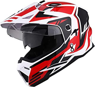 1Storm Dual Sport Motorcycle Motocross Off Road Full Face Helmet Dual Visor Storm Force Red, Size XL