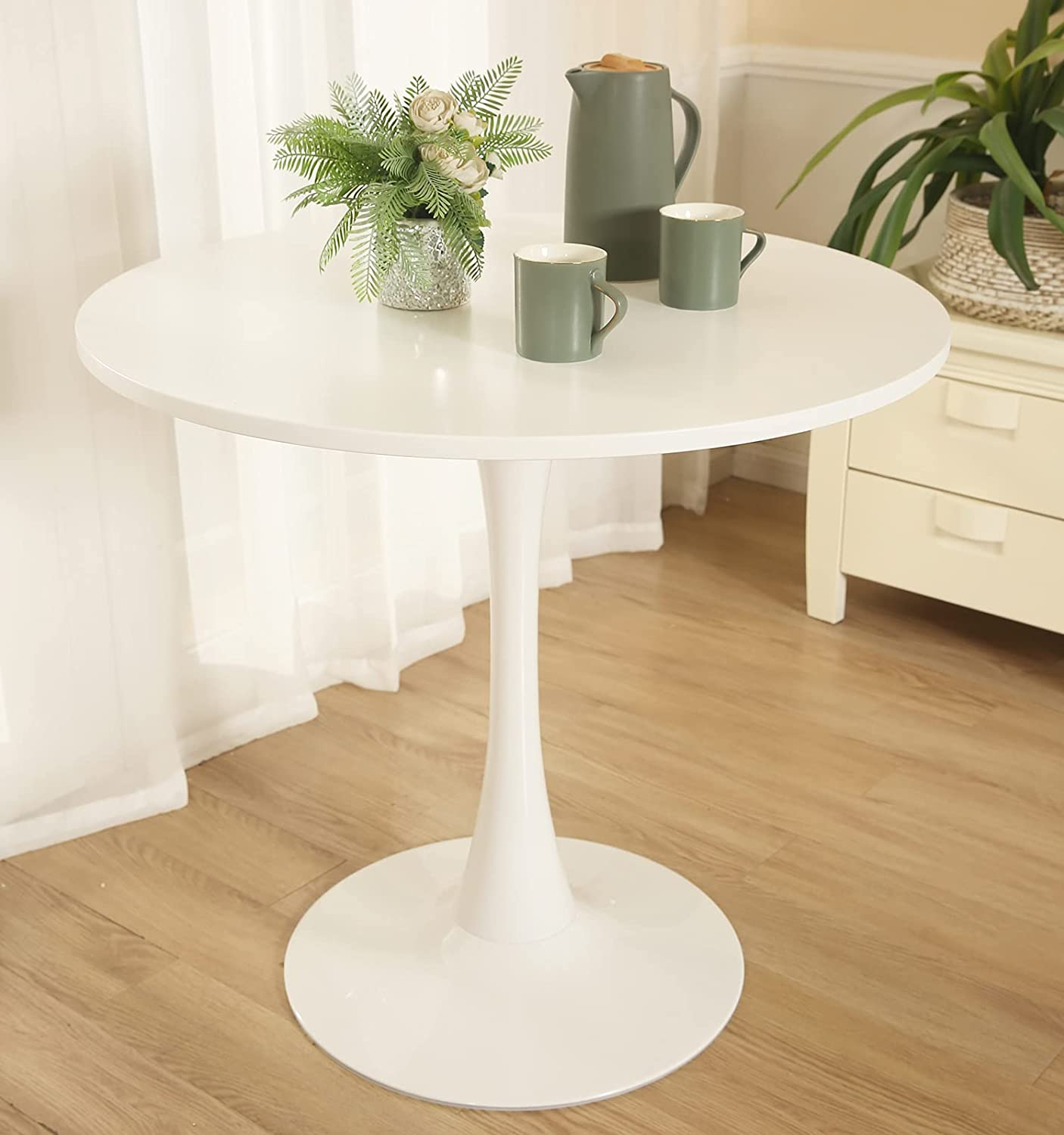 Round Dining Table,Modern Round Pedestal Table with Metal Legs for Small  Spaces Dining Table Kitchen Table Leisure Tea Coffee Table Pedestal Table