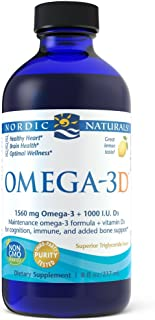Nordic Naturals Omega-3D Liquid - Promotes Heart Health, with Added Vitamin D3 for Additional Bone, Cognitive, and Immune Support, Lemon, 8 Ounces