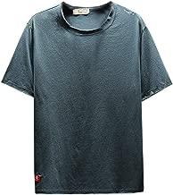 Qinnyo Men's T Shirts for Men Tops Plus Size Short Sleeve Sweatshirt Solid Color Tee Jersey Script T-Shirt 6 Color S-5XL