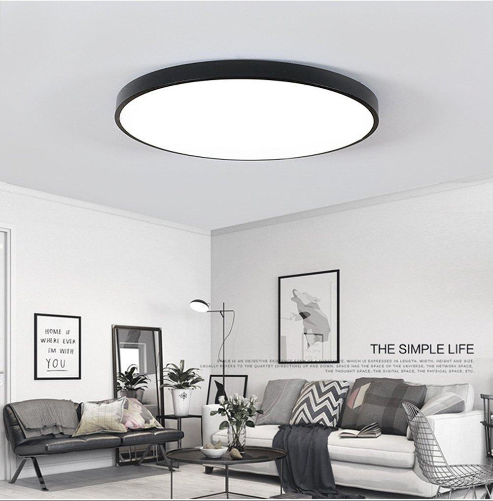 Ultra-dünne LED Deckenleuchte Energiesparende Deckenleuchten Runde Lampe  für Wohnzimmer 6W Schwarz Warmweiß