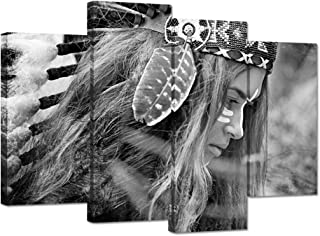 iHAPPYWALL 4 Panel Black and White Native American Indians Chef Girl Feathered Canvas Wall Art Beautiful Woman Picture Print On Canvas Stretched and Framed for Bedroom Living Room Decor Ready to Hang