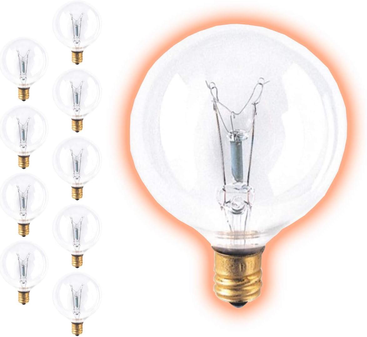 6O Watt 品質保証 G16 Globe Light Bulbs Base Clear E12 スピード対応 全国送料無料 Candelabra Finish
