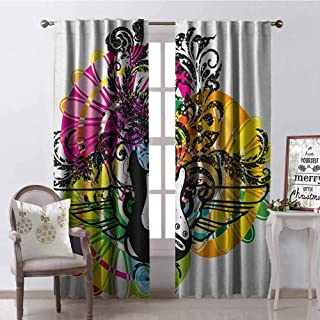 Popstar Party Heat Insulation Curtain Abstract Floral Composition with Vibrant Colors Circles and Electric Guitar for Living Room or Bedroom W100 x L84 Inch Multicolor