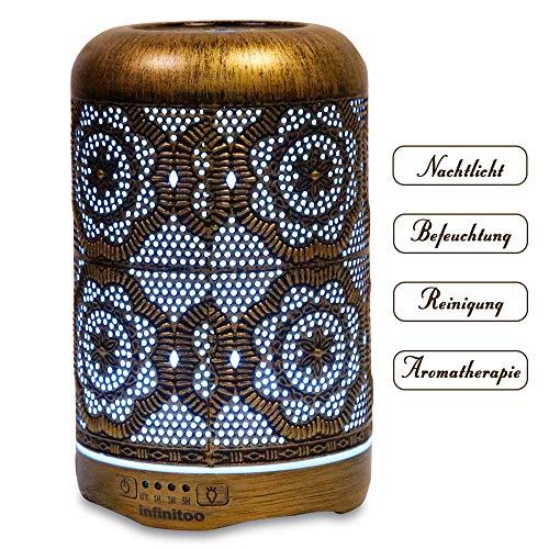 Aroma Diffuser  infinitoo 260ml Luftbefeuchter Ultraschall Metall Aromatherapie Diffusor für ätherische Öle  Aktualisierte Version Raumbefeuchter, 7 Farbe für Zuhause Büro Oder Yoga
