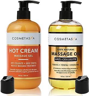 Anti-Cellulite Massage Oil & Hot Cream - 100% Natural Cellulite Treatment with Gel & Oil - Firm, Tone, Tighten & Moisturiz...