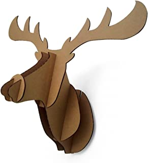 Paper Maker Cardboard 3D Moose Head Wall Decoration Art Animal Head Wall Hanging Decor (small, brown)