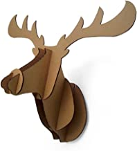 Paper Maker Cardboard 3D Moose Head Wall Decoration Art Animal Head Wall Hanging Decor (big, brown)
