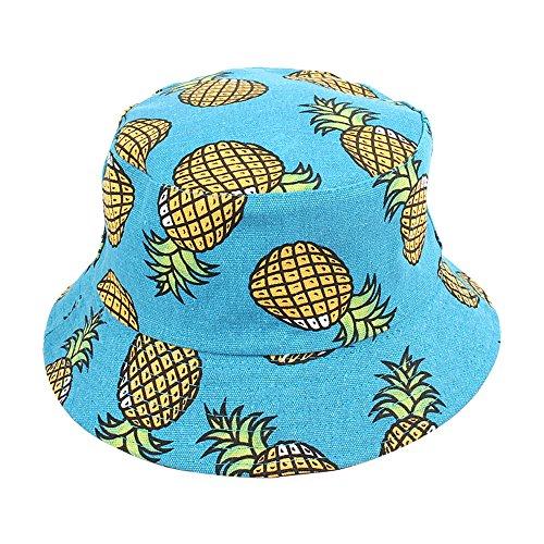 Chytaii Chapeau de Pêche pour Fille Chapeau de Soleil en Toile Double-Face Anti-Soleil UV Bob Hat Pliable Mignon Motifs de Fruits Ananas Protection Solaire du Visage en Été