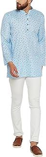 Sojanya (Since 1958) Men's Sky Blue Cotton Linen PRINTED Short Kurta
