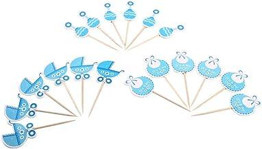 Set van 18 stks Cupcake Topper Cake Cupcake Decoratief voor Kinderen Verjaardag Party Thema Party Baby Shower, Roze/Blauw...