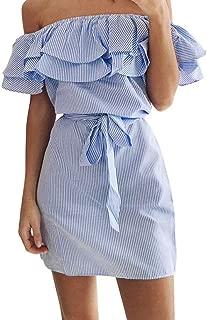 CUCUHAM Women Summer Striped Off The Shoulder Ruffle Dress with Belt