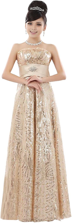 BeautyEmily Women's Strapless Long Formal Evening Rhinestone Dresses