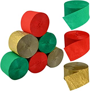 Crepe Paper Streamers for Christmas, Jerbro 738 Ft Red Green Gold Crepe Paper Roll Christmas Party Room Wall Decor, 9 Rolls (red, Gold, Green)