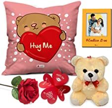 """Indigifts Valentine Gifts for Girlfriend Love Quote Cushion Cover 12""""x12"""" with Filler, Cute Teddy, Artificial Rose & Photo Magnet - Valentine Day Gifts for Girlfriend, Husband/Wife, Love Gift"""
