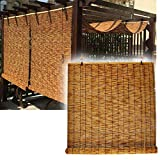 Sunshades Roller Window Blinds, Bamboo Roll Up Shades For Outdoor Natural Reed Curtain,Water Proof Blackout Wooden Blind, Easy To Install, For Indoor/Kitchen/Patio,Size Customized 60×100cm/24×39in
