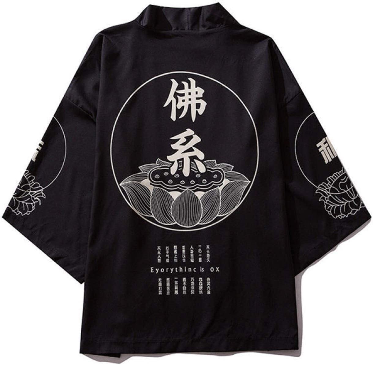 RHH Shop Chinese Style Men's Summer Short-Sleeved Hanfu Cardigan Ukiyo-e Kimono Robe (Color : Black, Size : X-Large)