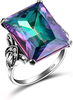 Rainbow Topaz Ring,Mystic Fire Topaz Ring for Womens/Mens Big Ring Antique 925 Sterling Silver Rings Jewelry