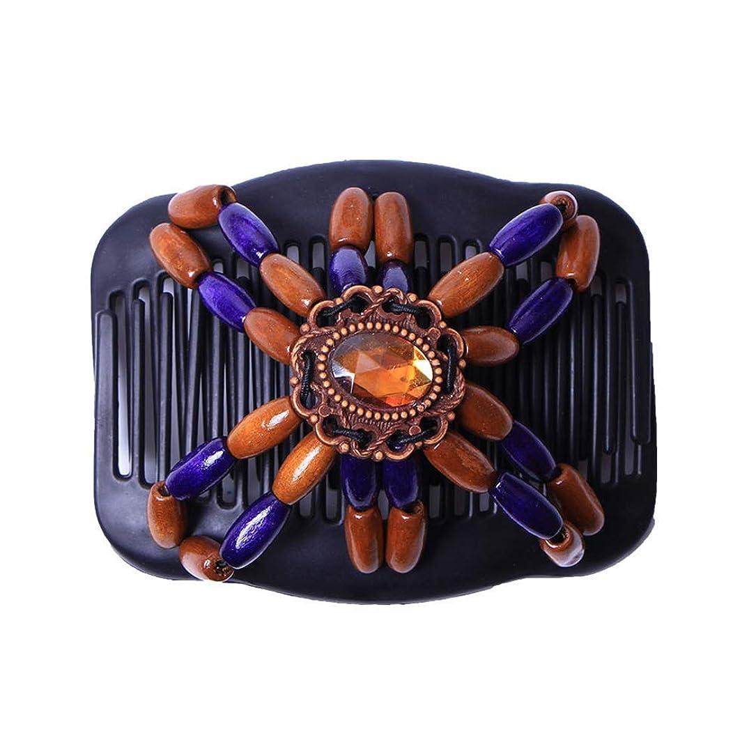 定規不透明な作成者GUANG-HOME レトロダブルビーズマジックヘアコームクリップ伸縮性ヘアピン女性ヘッド飾りヘア飾りエレガントなマジックヘアコーム