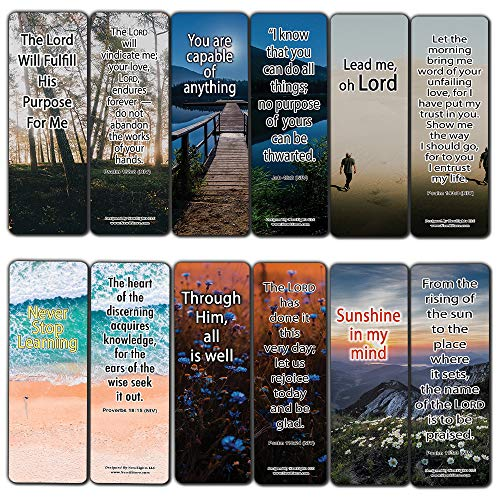 NewEights Living Your Purpose Bible Verses (12-Pack) - Stocking Stuffers Devotional Bible Study - Church Ministry Supplies Teacher Incentive Gifts