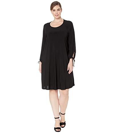 Karen Kane Plus Plus Size Tie-Sleeve Swing Dress (Black) Women