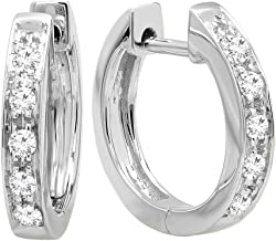Dazzlingrock Collection 0.12 Carat (ctw) 10K Round White Diamond Ladies Huggie Hoop Earrings, White Gold