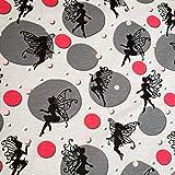 Loopomio Jersey Stoffe Fee Schmetterlinge grau 0,50m x VB