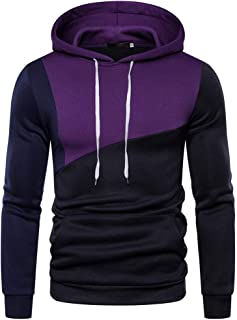 Coupondeal Men's Patchwork Hooded Sweatshirt Fall Winter Long Sleeve Hoodies Pullover Color Block Cozy Sport Tops
